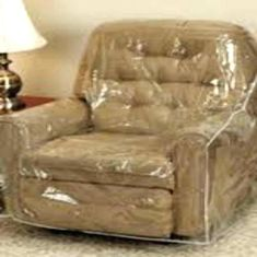 Clear Hard Plastic See Thru Heavy Duty Sofa Cover Living