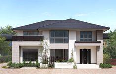 2色のタイルを貼り分けながら、表情豊かな外観デザインを演出。アクセントの木調ラインが上品さの中に温もりを感じさせます。 Villa Design, Modern House Design, Japanese House, Facade House, Minimalist Home, My Dream Home, Building A House, Architecture Design, House Plans