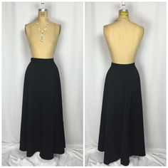 Vintage Anne Klein II Faux Wrap Long Black Wool Riding Maxi Skirt 8 | eBay