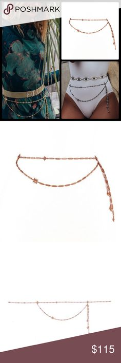 """STONE COLD FOX X LUV AJ 💫 Estrella Belt NWT Dainty rectagular link chain belt with metal star pendants.  Love the look of these layered with other styles!   One Size Fits Most  Belt is 28"""" long with 11"""" of extender chain Side chain tassels hang 6"""" down Plated Silver Ox or Plated Rose Gold. NWT Stone Cold Fox Accessories Belts"""