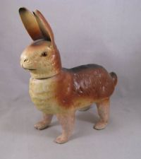 Vintage German papier mache rabbit candy container glass eyes Easter bunny paper