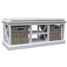 Home & Haus Schellin Wood Bench with Storage | Wayfair.co.uk