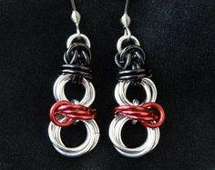 Jump Ring Jewelry, Wire Jewelry, Jewelry Crafts, Beaded Jewelry, Jewelery, Handmade Jewelry, Earrings Handmade, Bijoux Fil Aluminium, Wire Earrings
