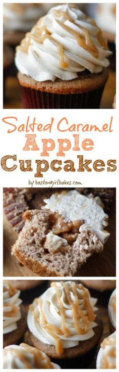Salted Caramel Apple Cupcakes- An apple spiced cupcake filled with an apple pie filling then topped off with a salted caramel buttercream frosting! Pin this now for whenever apples are in season! http://www.bostongirlbakes.com/2015/11/10/salted-caramel-apple-cupcakes/