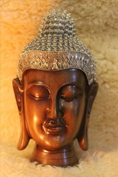 Large Buddha Head Statue for Meditation rooms, yoga zen sculpture decor. Home decor. Meditation Room Decor, Meditation Cushion, Meditation Space, Buddha Face, Buddha Head, Head Statue, Learn To Meditate, Left And Right Handed, Vintage Looks