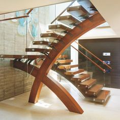 ☆Luxe Interiors + Design( :「 Have you ever seen a staircase like this? Home Stairs Design, Railing Design, Interior Stairs, House Design, Loft Design, Staircase Railings, Wood Stairs, House Stairs, Staircase Ideas