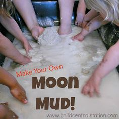Task Shakti - A Earn Get Problem Making Moon Mud Child Central Station - Fun Easy Recipe For Hours Of Messy Fun Sensory Table, Sensory Bins, Sensory Activities, Sensory Play, Preschool Activities, Indoor Activities, Cornflour Activities, Family Activities, Planets Preschool