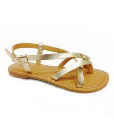Look at this #zulilyfind! Gold Strappy Sandal by Bamboo #zulilyfinds