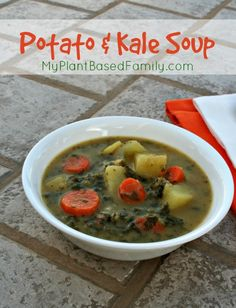 Potato Kale Soup has it all! Chunky veggies, creamy broth and KALE! The soup is Vegan and gluten-free!