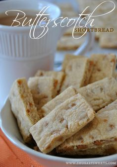 Butterscotch Shortbread Bars: browned butter and butterscotch chips give these classic shortbread cookies BIG flavor!...These look so good!