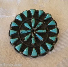 RARE Old Sterling Silver Turquoise ZUNI Cluster Pin Brooch | eBay