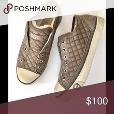 UGG Jenna Quilted sneaker UGG Quilted Jenna sneaker. Distressed suede... great condition. Some minor scuffing. Sheepskin lining. Slip on style. Size 6.. not sure on sizing as these were not mine .. please know your Ugg sizing. I can't answer that question 😳NO OFFERS 🚫LOWEST LISTED🚫BUY IT NOW OPTION ONLY 🚫I ONLY TRADE FOR CASH 💰 Shoes