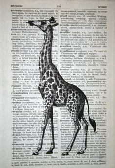 Etsy - Giraffe Print on Vintage French Book Page - 5 x 7