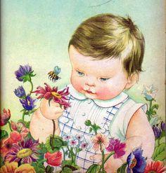 "Baby Listens, Illustrations by Eloise Wilkin, 1960- Garden    from ""Baby Listens"", Little Golden Book, 1960Words by Esther Wilkin Illustrations by Eloise Wilkin"