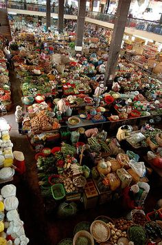 This aerial shot of colourful Dalat Central Market in Dalat, Vietnam shows how much stock and how much colour they use