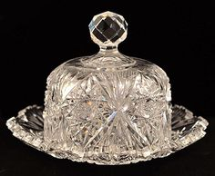 American Brilliant Cut Glass Vintage Domed Butter Dish with Lid from easterbelles-emporium on Ruby Lane
