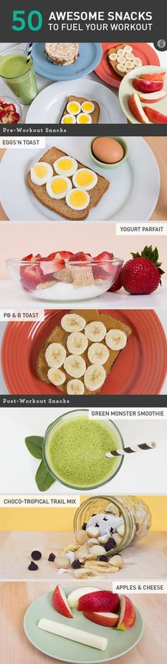 50 Awesome Pre- and Post-Workout Snacks - Breakfast is the most important meal of the day for some, but for those who manage to squeeze some gym time into their routine, pre- and post-workout foods can be just as huge #healthy #workout #snacks