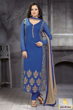 Build beauteous style declaration with blue color embroidery dress online with discount. It is awesome with beige color threaded design on bottom side of kameez.  http://www.pavitraa.in/store/partywear-salwar-suit/ #salwarsuits, #salwarkameez, #dresses, #designersalwarsuits, #straightsalwarsuits, #embroiderysalwarsuits, #wholesalecatalog, #churidarsuit, #plazo, #festivaloffer Call/ WhatsApp : +91-7698234040  Email _Id : info@pavitraa.in