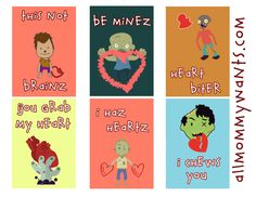 Printable Zombie Valentine Cards You'll Die For! via @mommywant