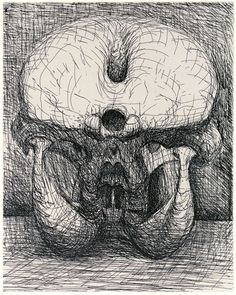 Elephant Skull etching by Henri Moore Natural Form Artists, Natural Forms, Natural Structures, Abstract Sculpture, Sculpture Art, Metal Sculptures, Bronze Sculpture, Sculpture Ideas, Henry Moore Drawings