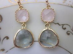 Gold Charcoal Gray Earrings Pink Earrings - Bridesmaid