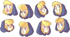 Moon girl expressions!  by Miranda Yeo, Character designer currently living in Ontario, Canada. Lover of elves and cute things!