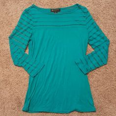 INC  Turquoise Sheer Top This cute top from INC International Concepts had sheet stripping on the sleeves and asking the top (front and back). The sleeves are 3/4 length.  No trades on ANY LISTINGS! INC International Concepts Tops Tees - Long Sleeve