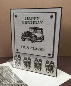 classic-car masculine birthday card using Stampin' Up! Guy Greetings stamp set
