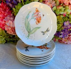 8 Beautiful Lenox Porcelain Luncheon Plates Butterfly Meadow ~ Insects ~ Floral #Lenox
