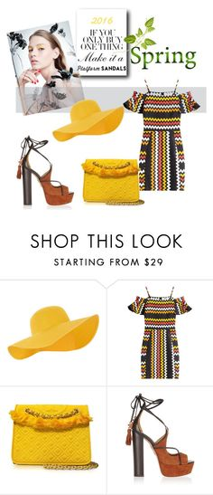 """""""Platforms"""" by zoe-keredy ❤ liked on Polyvore featuring Accessorize, MSGM, Tory Burch and Aquazzura"""