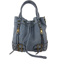 Look What I Found On Light Blue Leather Ursula Bucket Bag By Joelle Hawkens