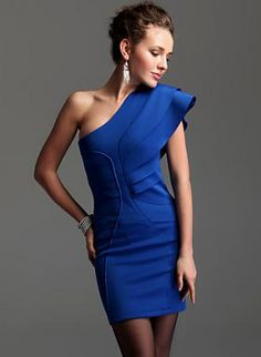 Blue Layered Ruffle Sleevless One Shoulder Bodycon Dress,  Dress, dresses, Chic