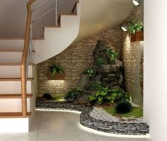 gardens under stairs - gardens under stairs ; gardens under stairs staircases ; gardens under stairs outside ; indoor gardens under stairs ; gardens under the stairs ; outdoor gardens under stairs Home Garden Design, Diy Garden, Interior Garden, Home And Garden, Garden Cart, Asian Garden, Space Under Stairs, Small Garden Under Stairs, Pebble Garden
