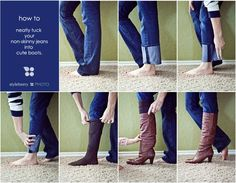 How To Tuck Non-Skinny Jeans Into Boots-I've been doing this a similar way, but instead of a stocking I use a rubber band around my ankle to keep the fold in place. Doesnt hurt, works for me.