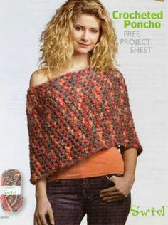 Crocheted Poncho Crochet Pattern  I HAVE MADE SEVERAL OF THESE AN D IS EASY GREAT OVER A WHITE BLOUSE OR  TSHIRT