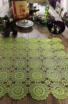 crochet lace  doily  table cloth in apple spring by silkroaddream, $110.00