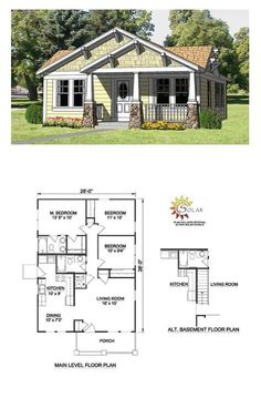 Bungalow Style COOL House Plan ID: chp-27990 | Total Living Area: 1064 sq. ft., 3 bedrooms & 2 bathrooms. #houseplans #bungalowstyle