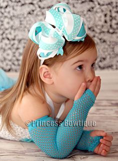 Boutique White and Turquoise Hair Bow for Babies and Girls Headband