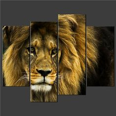 Wall Paintings  - Pin it :-) Follow us, CLICK IMAGE TWICE for Pricing and Info . SEE A LARGER SELECTION of wall paintings at http://azgiftideas.com/product-category/wall-paintings/  - gift ideas, house warming gift ideas, home decor -  4 Piece Wall Art Painting Pictures Print On Canvas Old Lion Wild Cat Cascade The Picture For Home Modern Decoration Oil