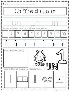 Chiffre du jour // French Number of the Day Pack French Flashcards, French Worksheets, French Alphabet, Alphabet Writing, Learning French For Kids, Teaching French, French Classroom, Math Classroom, French Numbers