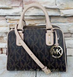 Michael Kors MK Signature Brown PVC Small Satchel Handbag Bag NWT 35T1GMKS1B #MichaelKors #Satchel