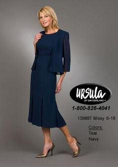 Alternate view of the Ursula Tea Length Mother of the Bride Dress 13988T image