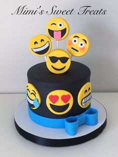 Emoji cake with Rice Krispie Marshmallow Fondant covered Topper Treats