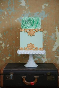 Love the designs on this mint wedding cake #wedding  #cake #mint But I think I'd prefer it in white instead with metallic details