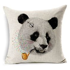 TheOne/ 4190 Cotton Linen Throw Pillow Case Square Decorative Cushion Cover Sofa Panda & Smoking Pipe 18in X 18in
