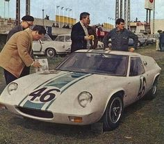 1967 April Le Mans 24h,Test Day, paddock, Team Elite with the Lotus 47 # 47-GT-07 nr46 (Preston) 19th
