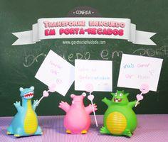 Transforme brinquedos em porta-recados - (Reciclagem de brinquedo)  http://www.garotacriatividade.com/reciclagem-de-brinquedo/   #diy #craft #handmade #recycle #idea #creative #creativity #ideia #reciclagem #recicle #criatividade #toyart