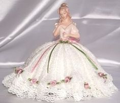porcelain half doll pincushion