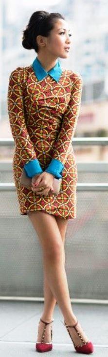 Greetings from Taipei :: Kaleidoscope print Dress :: Carven Top :: thanks to Equipment! Bag :: Prada wallet Shoes :: Schutz Accessories :: Gorjana rings, Deborah Lippmann 'It's raining men' polish African Dresses For Women, African Print Dresses, African Attire, African Wear, African Fashion Dresses, African Women, African Prints, African Style, African Inspired Fashion