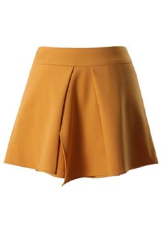 Asymmetric High Waist Short in Mustard